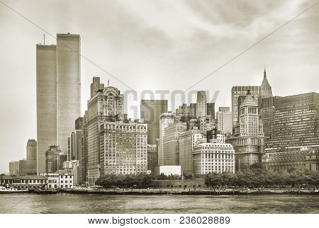 New York City Skyline From Nj With World Trade Center Featured As Landmark Of Twin Towers, Destroyed