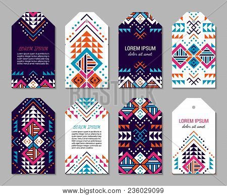 Bright Colorful Vertical Tag Design Temlpate Set With Tribal Aztec Style Ornament. Ethnic Paper Labe