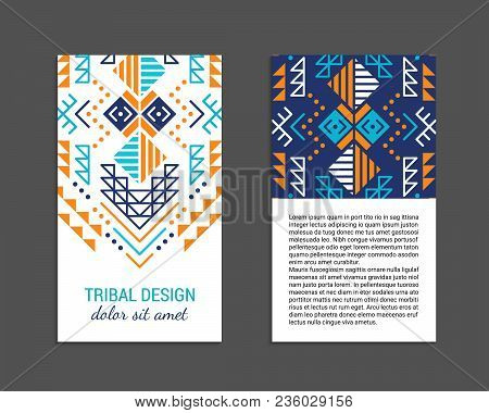 Aztec Colorful Ornamental Vertical Card Template. American Indian Leaflet Design. Front And Back Pag