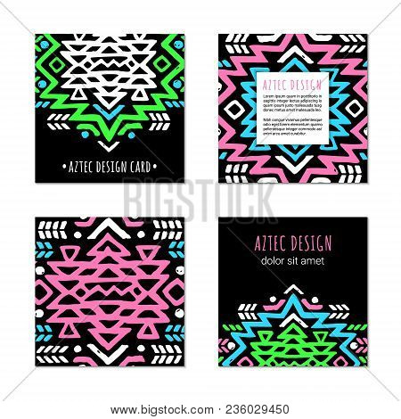Aztec Colorful Hand-drawn Square Ornamental Card Template. American Indian Leaflet Design. Tribal De