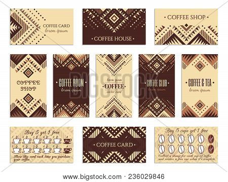 Visit Card Design Set With Loyalty Program For Coffee Shops, Tea Houses And Rooms In African Style.