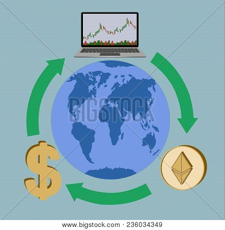 Trading And Exchange Anywhere In The World , Laptop And Ethereum And Dollar Sign  Around The Earth W