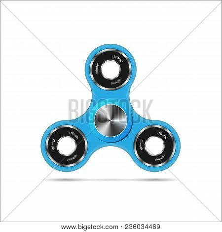 Hand Fidget Spinner Toy - Stress And Anxiety Relief. Blue Color.