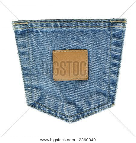 Denim Pocket With Leather Tag
