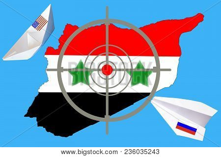 Outline Map Of Syria With Flag And Target Symbol. Syria War Between Russia And Russia