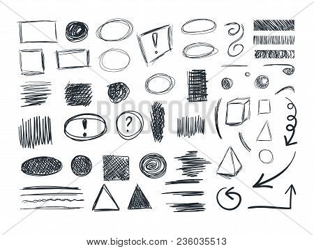Vector Sketches Collection, Sketchbook Doodle Drawings, Freehand Drawings Set.