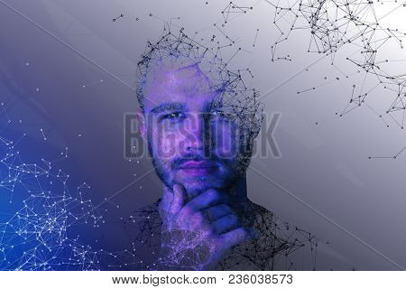 Abstract Polygonal Portrait Of Handsome European Guy. Cyberspace And Future Concept. Double Exposure