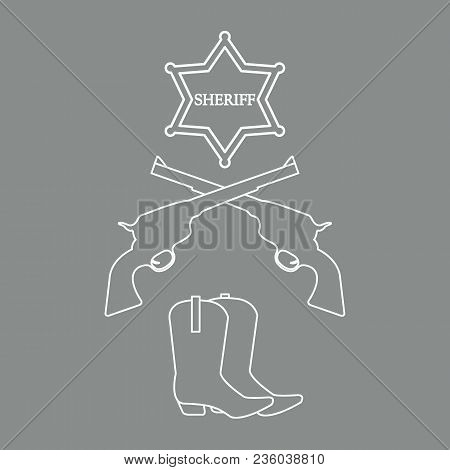 Illustration Of Sheriff Star, Revolvers Colt And Cowboy Boots. Wild West Collection. Cowboy Stuff.