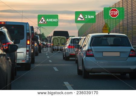 Traffic Jam On A Road. Vehicle To Vehicle Communication. Data Exchange Between Cars.