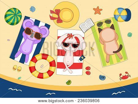 Hand Drawn Vector Illustration Of A Cute Koala, Bunny And Cat In Sunglasses On The Beach, Lying On S
