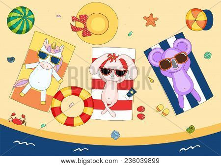 Hand Drawn Vector Illustration Of A Cute Unicorn, Bunny And Koala In Sunglasses On The Beach, Lying