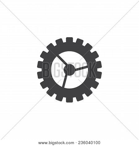 Gear Settings Vector Icon. Filled Flat Sign For Mobile Concept And Web Design. Cogwheel Simple Solid