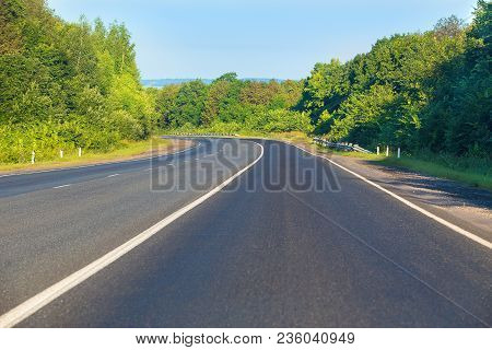 Country Asphalted Highway Wood Sky  Landscape Photo