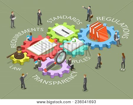 Regulatory Compliance Flat Isometric Vector Concept. Business People Are Discussing Steps To Comply