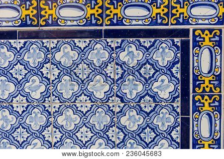 Set Of Typical Catalan Mosaics, With Animal And Nature Motifs. Barcelona, Spain.