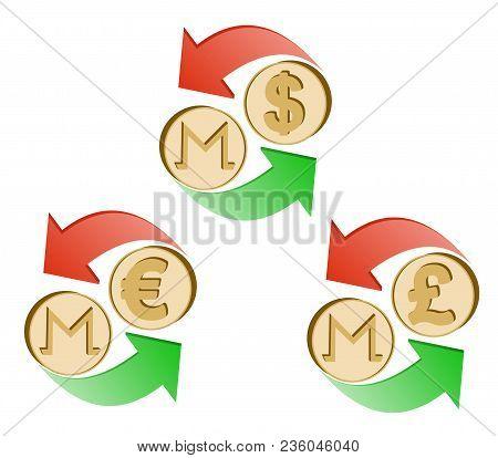 Exchange Monero To Dollar,euro And British Pound , Coins Of Monero And Dollar, Euro And British Poun