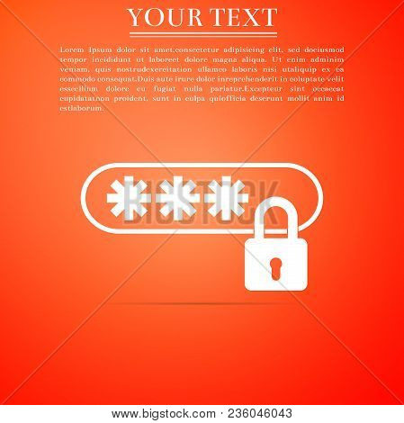 Password Protection Icon Isolated On Orange Background. Flat Design. Vector Illustration