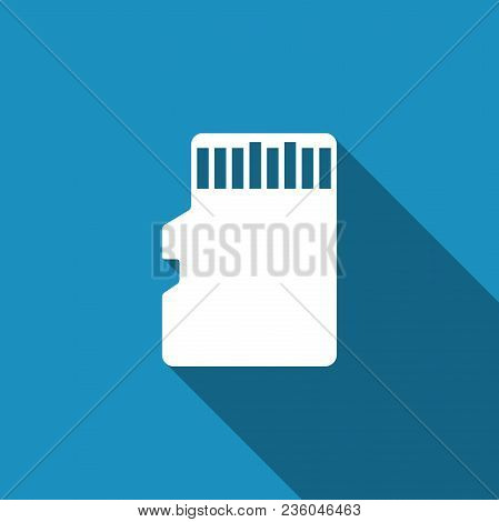 Micro Sd Memory Card Icon Isolated With Long Shadow. Flat Design. Vector Illustration