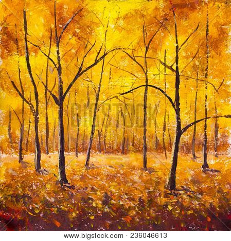 Autumn In The Forest - Original Painting. Forest Trees In The Autumn Foliage. Golden Yellow Orange B