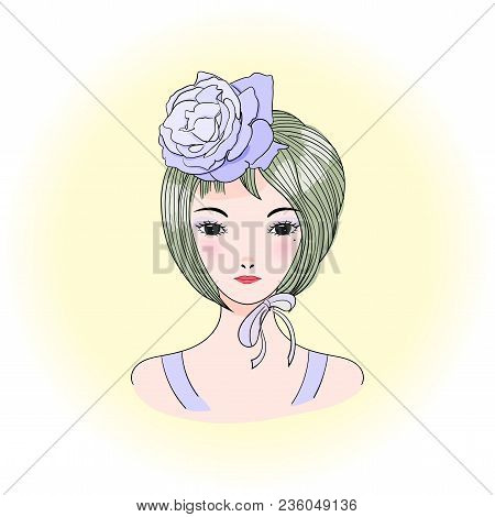 Hand Drawn Vector Portrait Of A Young Beautiful Asian Woman With Short Haircut, Rose And Ribbon. Ani