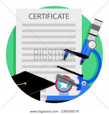 Academic Education Icon. Vector Degree And Diploma Certificate Graduation University Illustration
