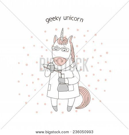 Hand Drawn Vector Illustration Of A Cute Funny Cartoon Unicorn In A Lab Coat, With Chemical Reagents