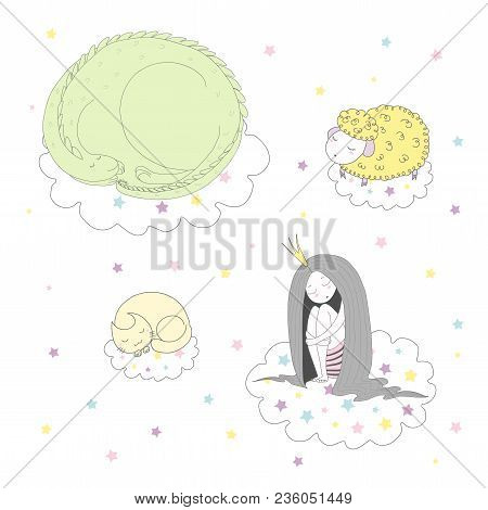 Hand Drawn Vector Illustration Of A Cute Funny Curled Up Dragon, Cat, Sheep And Princess Floating On