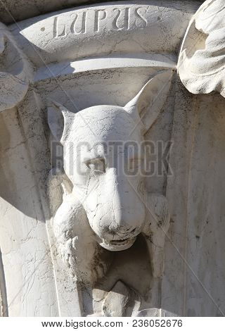 Venice, Italy - July 14, 2016: Detail Of A Statue Of A Wolf In A Column In  Saint Mark Square Near T