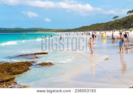 People Enjoying The Sunny Weather At Hyams Beach, Nsw, Australia