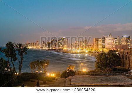 Tel Aviv Israel November 2016: Tel Aviv City Coastline At Night, Israel.