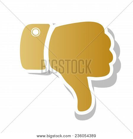 Hand Sign Illustration. Vector. Golden Gradient Icon With White Contour And Rotated Gray Shadow At W
