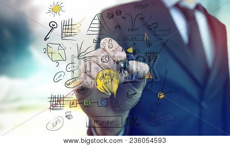 Busines Man Hands Idea On Bright Background
