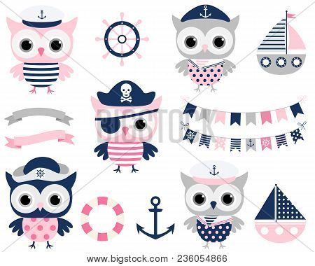 Cute Vector Pirate Sailor Owl Birds And Sailing Party Design Elements In Blue, Pink And Grey Colors