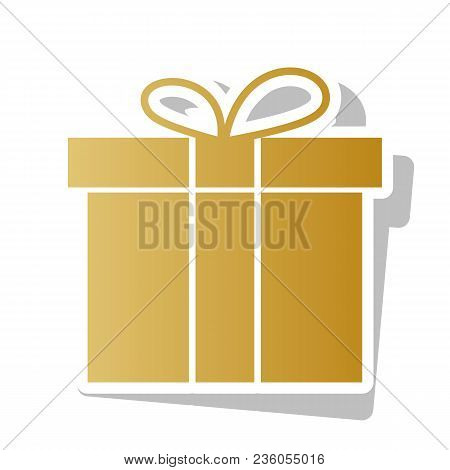 Gift Box Sign. Vector. Golden Gradient Icon With White Contour And Rotated Gray Shadow At White Back