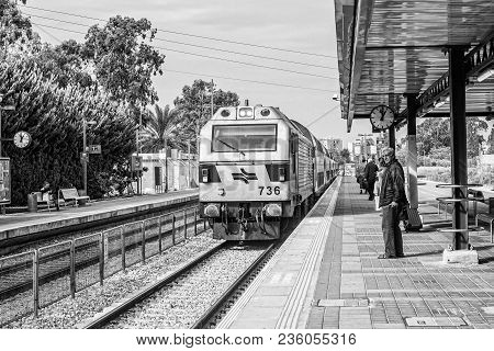 Acre, Israel - November 2016: Train On The Acre Train Station.