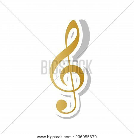 Music Violin Clef Sign. G-clef. Treble Clef. Vector. Golden Gradient Icon With White Contour And Rot