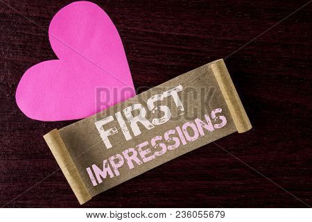 Conceptual Hand Writing Showing First Impressions. Business Photo Showcasing Encounter Presentation