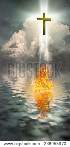 Cross Hangs in Sky over Water with Fire Burning on Waters Surface. 3D rendering
