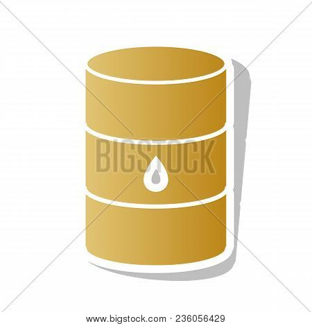 Oil Barrel Sign. Vector. Golden Gradient Icon With White Contour And Rotated Gray Shadow At White Ba
