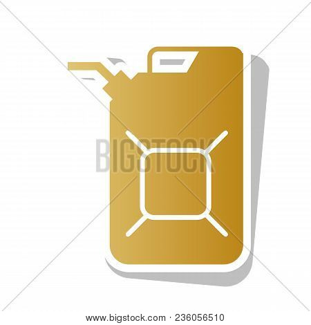 Jerrycan Oil Sign. Jerry Can Oil Sign. Vector. Golden Gradient Icon With White Contour And Rotated G