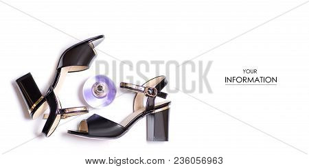 Black Female Sandals And Perfume Pattern On White Background Isolation