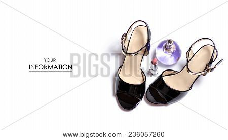 The Female Sandals Shoes Lipstick Perfume Heel Pattern On White Background Isolation