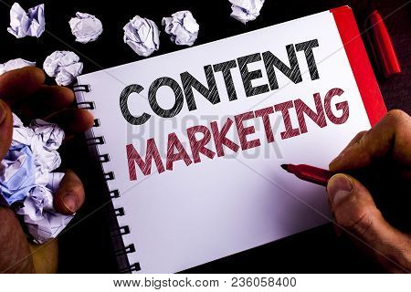 Writing Note Showing  Content Marketing. Business Photo Showcasing Digital Marketing Strategy Files
