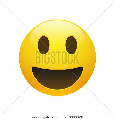 Vector Emoji Yellow Smiley Face With Eyes And Mouth On White Background. Funny Cartoon Emoji Icon. 3