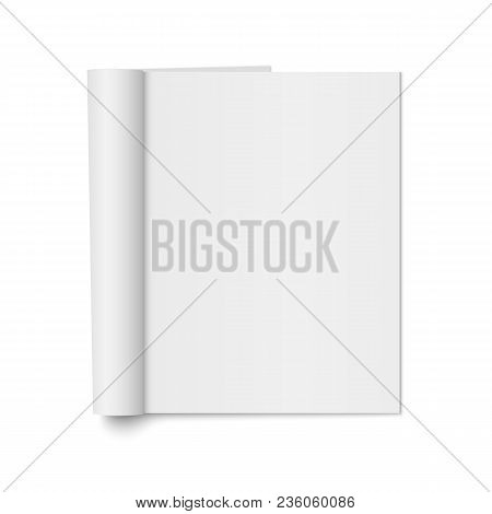 Vector Mock Up Of Realistic Magazine With Curled Paperback Isolated. Opened Vertical Booklet, Brochu