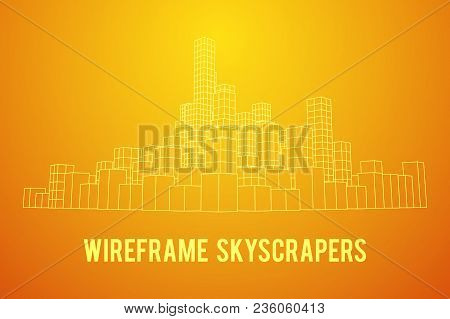 Mesh Low Poly Wireframe Cubes Array Like Skyscraper City. Connected Lines Town. Connection Box Struc