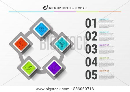 Infographic Design Template. Business Concept With 5 Steps. Can Be Used For Workflow Layout, Diagram