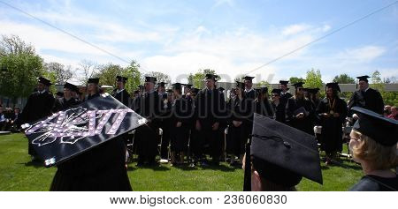 Graduates Standing During Graduation Commencement Ceremony At Defiance College, Defiance, Oh May 7,