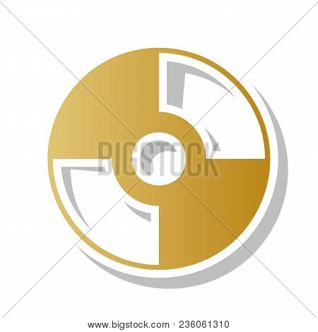 Cd Or Dvd Sign. Vector. Golden Gradient Icon With White Contour And Rotated Gray Shadow At White Bac