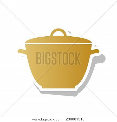 Saucepan Simple Sign. Vector. Golden Gradient Icon With White Contour And Rotated Gray Shadow At Whi